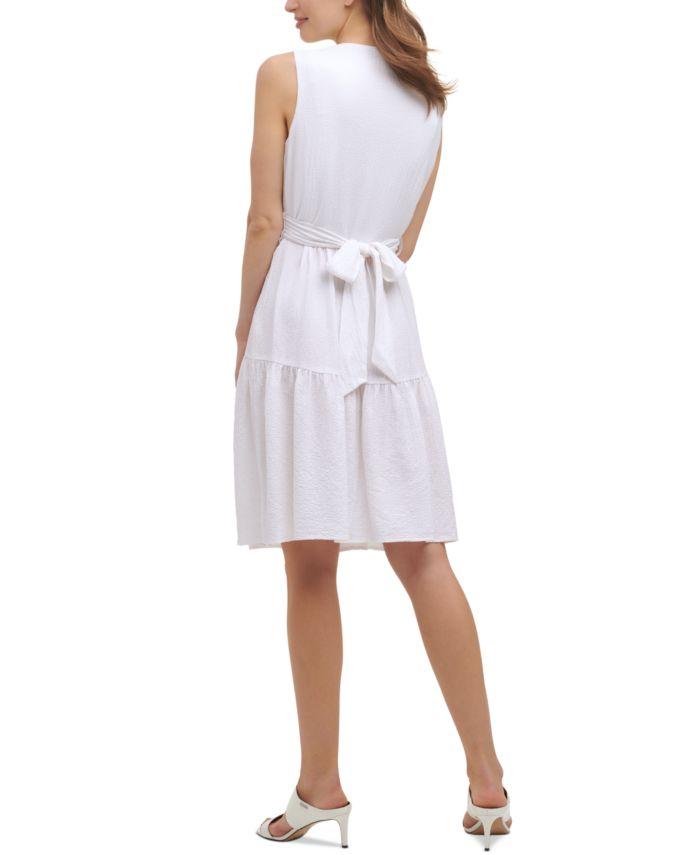 Calvin Klein Tie-Waist A-Line Dress  & Reviews - Dresses - Women - Macy's