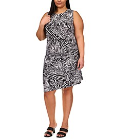 Plus Size Cotton Zebra Print Dress
