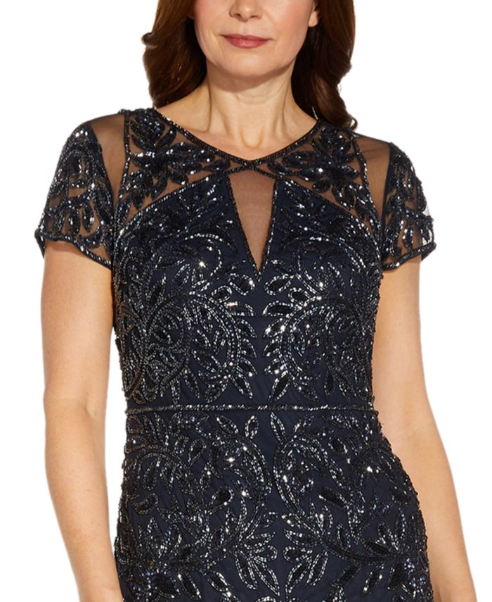 Adrianna Papell Short-Sleeve Sequined Gown & Reviews - Dresses - Women - Macy's