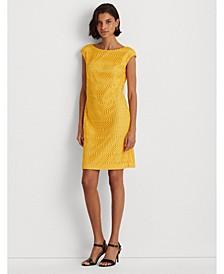 Petite Lattice Lace Cap-Sleeve Dress