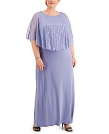 Plus Size Cape-Overlay Dress