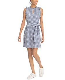 Petite Embroidered Ruffled Shift Dress