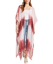 Checked Tie-Dyed Cotton Duster Ruana