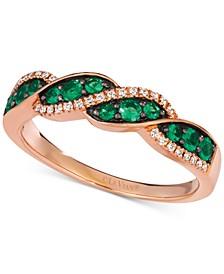 Costa Smeralda Emeralds (1/3 ct. t.w.) & Vanilla Diamond (1/10 ct. t.w.) Ring in 14k Rose Gold