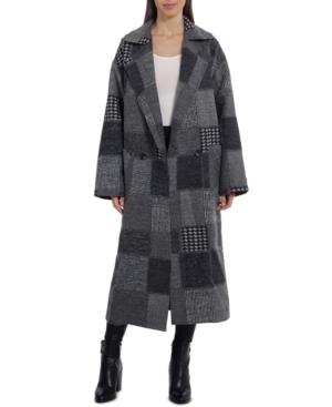 Oversized Patchwork-Plaid Maxi Walker Coat
