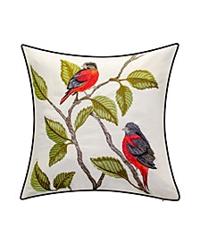 Embroidered Birds Decorative Pillow, 18 x 18