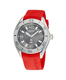 Men's N83 Red Silicone Strap Watch 44 mm