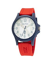 Men's N83 Red Silicone Strap Watch 40 mm
