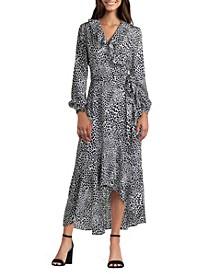 Wrap Dress with Ruffle Neckline