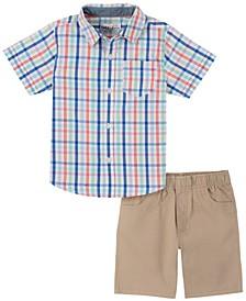 Toddler Boys 2-Piece Plaid Short Sleeve Shirt and Twill Shorts Set