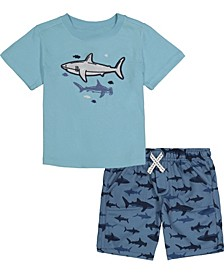 Toddler Boys 2-Piece Sharks Short Sleeve T-shirt and Printed Terry Shorts Set