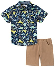 Toddler Boys 2-Piece Tractor Print Plaid Short Sleeve Shirt and Twill Shorts Set