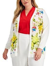 Plus Size Floral-Print Cardigan