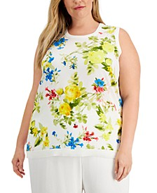 Plus Size Floral-Print Sweater Shell