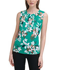 Printed Sleeveless Pleat-Neck Top