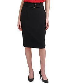 X-Fit Solid Belted Knee-Length Pencil Skirt
