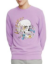 Men's Floral Skull Fleece Sweatshirt