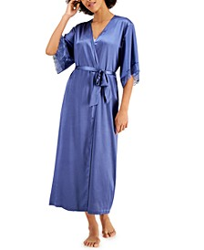 Satin Lace-Trim Long Wrap Robe, Created for Macy's
