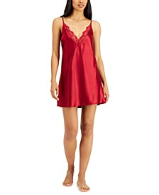 Lace-Trim Satin Chemise Nightgown, Created for Macy's