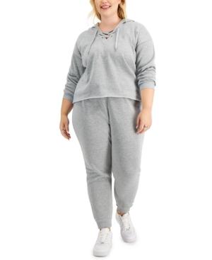 Trendy Plus Size 2-Pc. Lace-Up Hoodie & Jogger Pants Set