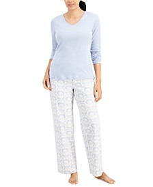 V-Neck T-Shirt & Flannel Pants Pajama Set, Created for Macy's