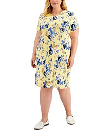 Plus Size Rose Reverie Printed Dress, Created for Macy's
