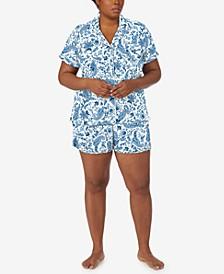 Plus Size Paisley Print Boxer Shorts Pajamas Set