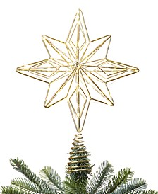 Holiday Lane Shine Bright Light-Up Gold Wire Star Tree Topper, Created for Macy's