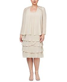Plus Size Tiered Dress and Embellished-Shoulder Jacket