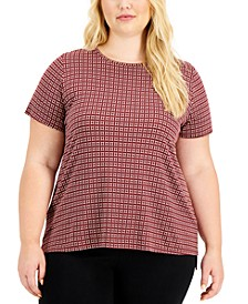 Plus Size Tile-Print Crewneck Top, Created for Macy's