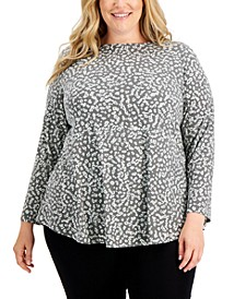 Plus Size Printed Shirttail-Hem Tunic, Created for Macy's
