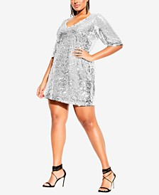 Trendy Plus Size Sequin Glow Dress