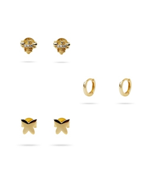 3-Pc Set Spring Ear Party in 14k Gold over Sterling Silver