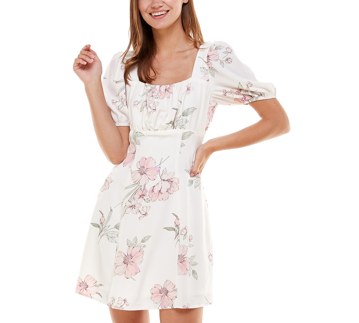 Juniors' Emma Square-Neck Dress