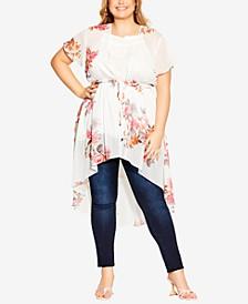 Trendy Plus Size Floral Crush Jacket