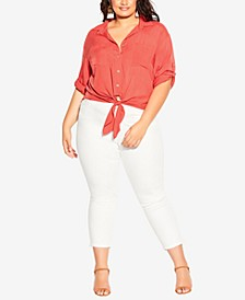 Trendy Plus Size Tropical Tie-Front Top