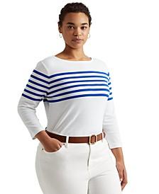 Plus-Size Striped Cotton Boatneck Top