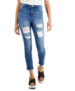 Destructed High-Rise Raw-Hem Skinny Jeans