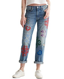 Cotton Embroidered Mid-Rise Jeans