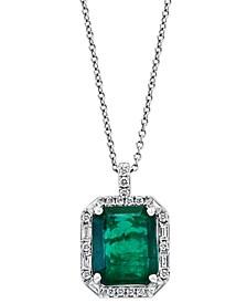 """EFFY® Emerald (4-3/4 ct. t.w.) & Diamond (3/8 ct. t.w.) Halo 18"""" Pendant Necklace in 14k White Gold"""