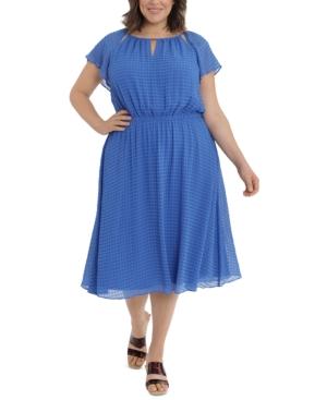 London Time Plus Size Flutter-Sleeve Midi Dress