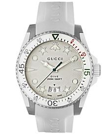 Men's Swiss Dive White Rubber Strap Watch 40mm