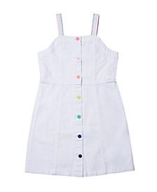 Big Girls Rainbow Strap Button Down Denim Dress