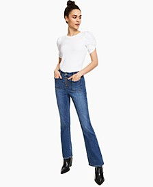 Petite Button-Fly Bootcut Jeans, Created for Macy's