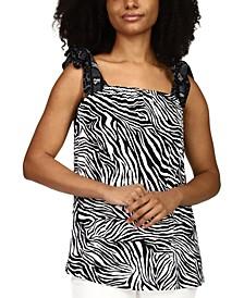 Zebra-Print Bow-Shoulder Tank Top