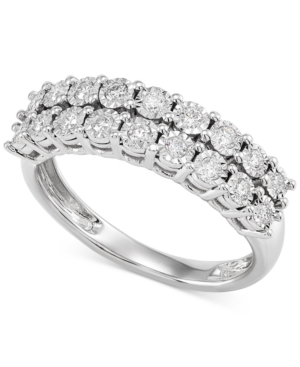 Lab-Created Diamond Double Row Statement Ring (1/3 ct. t.w.) in Sterling Silver