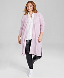 Plus Size Open-Front Long Cashmere Blend Cardigan, Created for Macy's