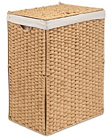 Foldable Rectangular Laundry Hamper with Lid & Canvas Liner