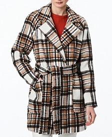 Juniors' Plaid Belted Wrap Coat