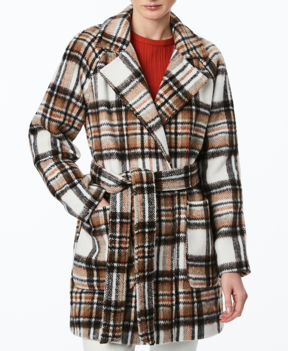 Collection B Juniors' Plaid Belted Wrap Coat